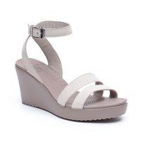 Crocs Leigh Wedge - נעלי עקב עם רצועות בצבע בז