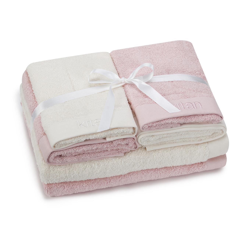 מארז 6 מגבות ורודות לאמבטיה הכולל 4 מגבות ידים וזוג מגבות גוף KITAN + מתנה