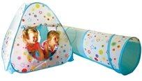 אוהל כדורים מתקפל ומנהרה + 100 כדורים צבעוניים ויתדות