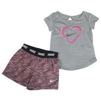 סט קייצי נייקי אפור לתינוקות - Nike Top Space Dye Short Set Grey