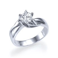 """טבעת אירוסין זהב לבן """"ברוק"""" 0.72 קראט עם טוויסט של זהב"""