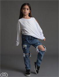 ORO/  ג'ינס יוניסקס ׁ(12 חודשים- 16 שנים) כחול  קרע ברך גדול