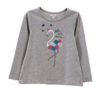חולצה עם שרוולים ארוכים והדפס פלמינגו נוצץ לילדות בצבע אפור