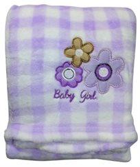 שמיכת פליס לתינוק לעגלה, עריסה או מיטה - פרחים סגול