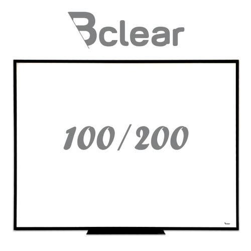 לוח מחיק זכוכית מגנטי לבן 100X200 ס''מ עם מסגרת שחורה ותליה נסתרת