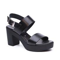 Seventy Nine - סנדלי עקב לנשים עם רצועות עבות עשויות עור בצבע שחור