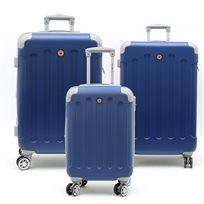 Swiss Travel Club - סט 3 מזוודות 201 קשיחות בצבע כחולאפור