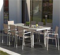 פינת אוכל לגינה SCAB עם שולחן מתארך ו-4 כיסאות דגם Leonardo