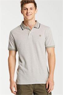 חולצת פולו לגברים - אפור/בז'