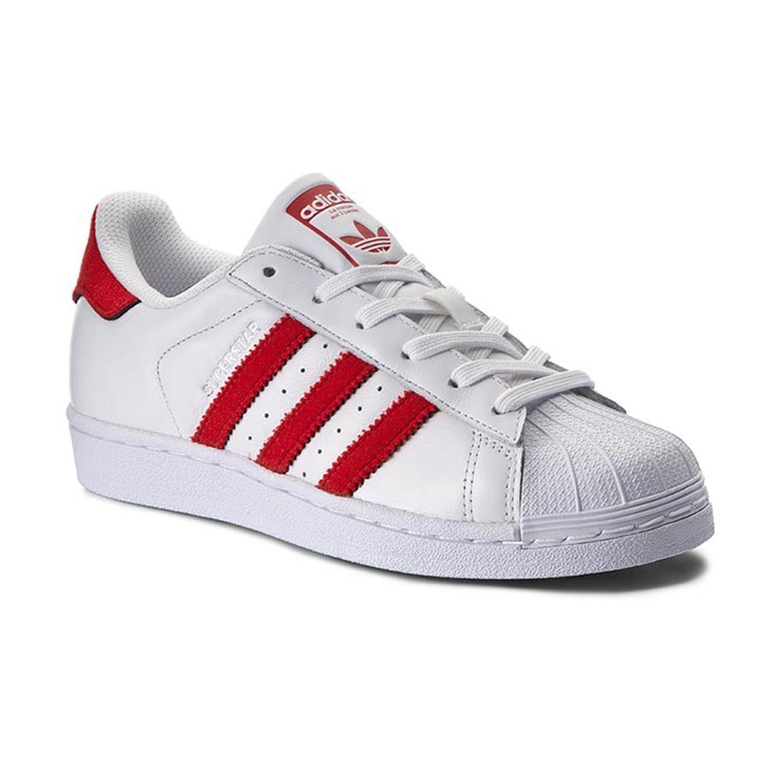 נעליים יוניסקס ADIDAS MEN'S SUPERSTAR BZ0191 - לבן/אדום