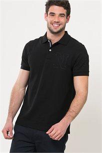חולצת פולו עם לוגו לגברים - שחור