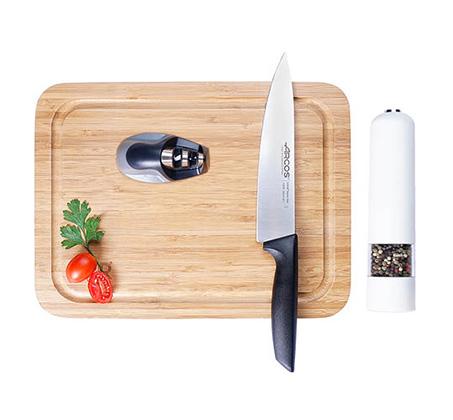 מארז בישול הכולל סכין שף, מטחנה חשמלית, משחיז וקרש חיתוך