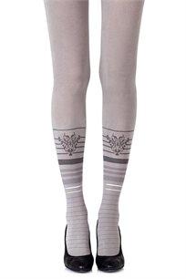 גרביון עם הדפס אפור וכסוף Bottom Line Grey בצבע אפור בהיר