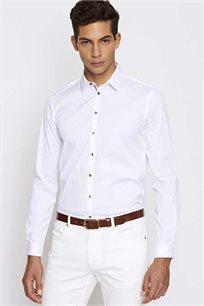 חולצה מכופתרת לגבר עם פאצ'ים במרפקים DEVRED KCORRALO1 - לבן
