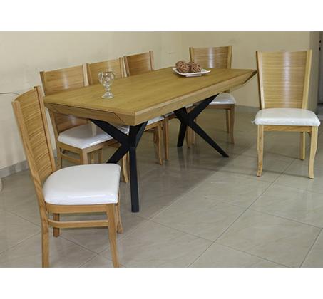 פינת אוכל מעץ מלא כולל 6 כסאות תואמים נפטון