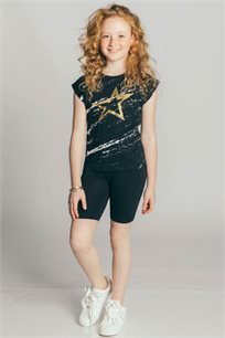 חולצת טריקו קצרה Kiwi לילדות בצבע שחור