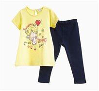 סט חולצה OVS ומכנסיים לתינוקות וילדות - צהוב וכחול עם הדפס ילדה