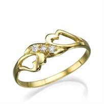 טבעת יהלומים זוגית לאוהבים בשיבוץ יהלומים מבריקים