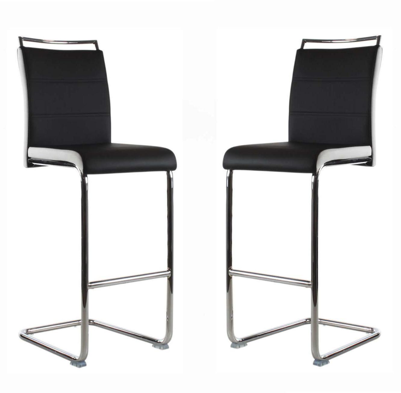 זוג כסאות בר דגם Didoo בריפוד דמוי עור בגוונים לבחירה - משלוח חינם