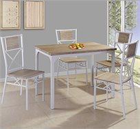 סט פינת אוכל מעץ הכולל ארבעה כיסאות בעיצוב מינימליסטי עם מסגרת ורגליים ממתכת לעמידות גבוהה