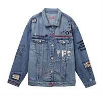 ג'קט ג'ינס אוברסייז לנשים מקושט פאצ'ים ופייטים Yes Jaquet - כחול