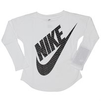 NIKE ילדות קטנות// GIRLS JUMBO FITIRA LS TEE WHITE