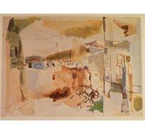 """""""נוף"""" - ציורו של בזר רוברט, הדפס בחתימה אישית בגודל 63X88 ס""""מ"""