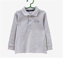 חולצת פולו שרוולים ארוכים OVS לילדות בצבע אפור עם כיתוב בצד