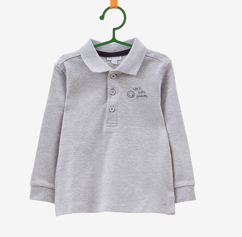חולצת פולו שרוולים ארוכים OVS לילדות - אפור עם כיתוב בצד