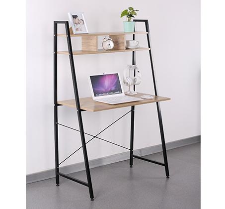 שולחן מחשב מעוצב מעץ בשילוב מתכת עם מדף עליון מחולק