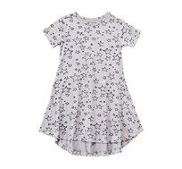 שמלה מתנופפת בצבע אפור בשילוב הדפס כוכבים