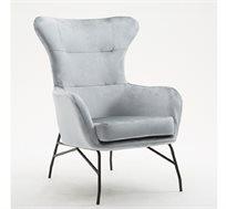 כורסא מרופדת עם רגלי מתכת ובד קטיפתי דגם AYELET