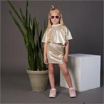 חליפת ORO לילדות (מידות 2-8 שנים) זהב מבריק