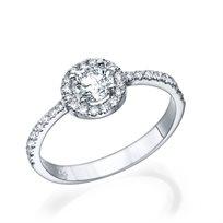 """טבעת אירוסין """"מיה"""" 0.76 קראט זהב לבן"""