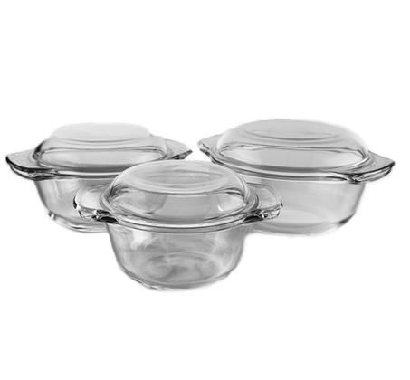 סירי זכוכית עגולים שישה חלקים