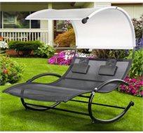 כסא נדנדה זוגי AUSTRALIA CAMP מפואר דגם Manhattan עם גגון צל בעיצוב חדשני
