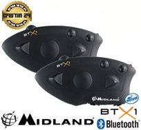 זוג דיבוריות Bluetooth A2DP לאופנועים, מסנן רעשים, אינטרקום בין רוכב למורכב ועמיד בגשם MIDLAND BTX1