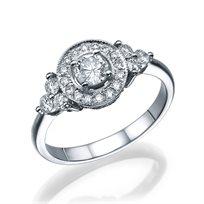 טבעת אירוסין בעיצוב וינטאג ייחודי 1.01 קראט
