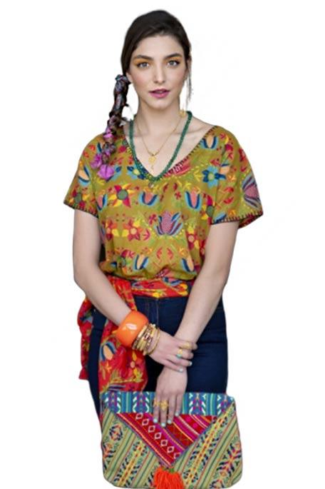 חולצה מודפסת Esta לנשים - זית