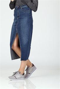 חצאית ג'ינס שליץ ארוכה -