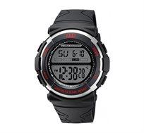 שעון יד דיגיטלי לגבר - שחור/אדום