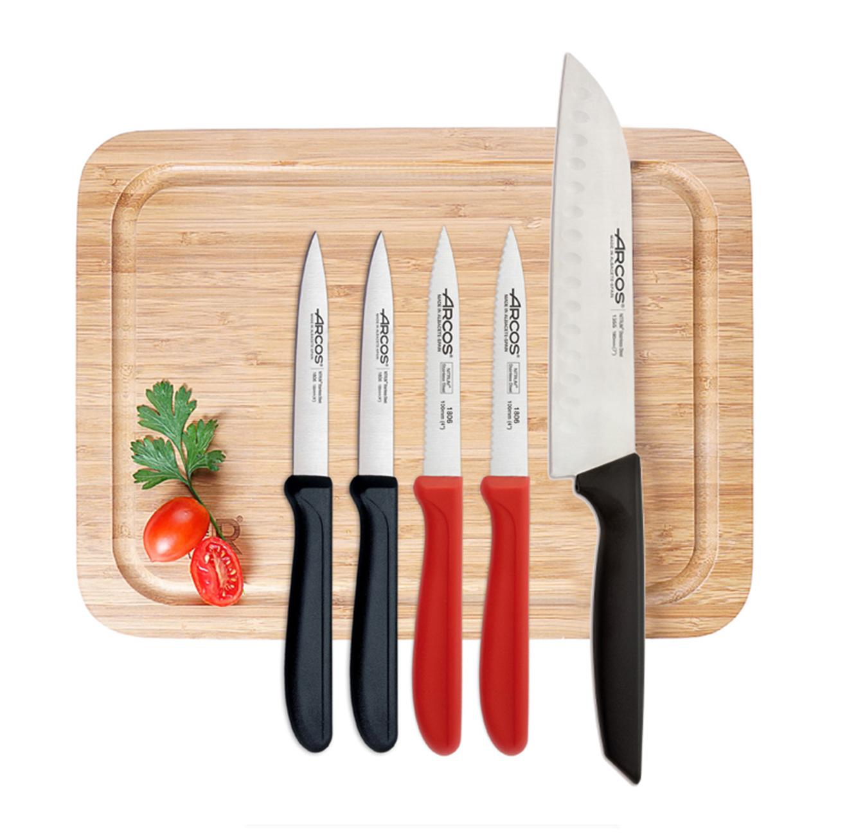 סט 6 חלקים הכולל 5 סכינים וקרש חיתוך מבמבוק