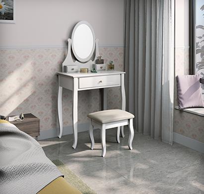 שידת איפור בעיצוב וינטג' יוקרתי דגם ונוס כוללת מראה גדולה, כיסא תואם ו-3 מגירות בצבע לבן - תמונה 2