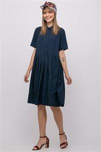 שמלת אריג אוברסייז עם קפלים וכפתרה קדמית