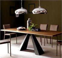 שולחן מעוצב לפינת אוכל עשוי מעץ בציפוי פורניר בצבע חום כהה דגם זיו