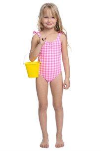 בגד-ים שלם משבצות לילדות Pilpel בצבע ורוד