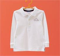 חולצת פולו שרוולים ארוכים OVS לילדים בצבע לבן עם כיתוב בצד