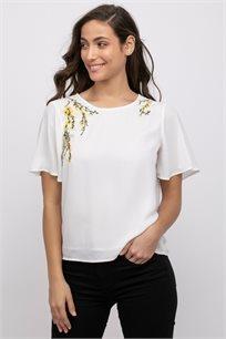 חולצת אריג בשילוב רקמת פרחים ושרוולי פעמון
