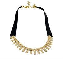 שרשרת חוליות קצרה בציפוי זהב 24 קראט עם עור שחור