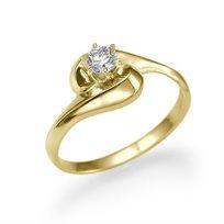 טבעת אירוסין זהב צהוב קרי 0.28 קראט בעיצוב ייחודי ומודרני